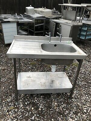 1M X 60cm Long Stainless Steel  Sink Unit With Deep Bowl & Taps. • 250£