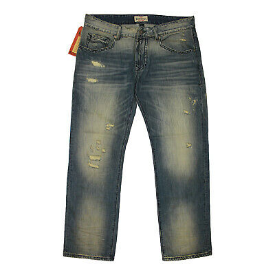 Rivet De Cru Mens Andrew Fit Relaxed Straight Leg Jeans Spa Blue Wash • 59.90£