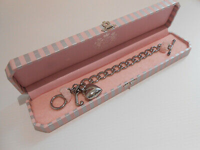 Juicy Couture Chunky Silver Heart Charm Bracelet VGC Boxed • 30£
