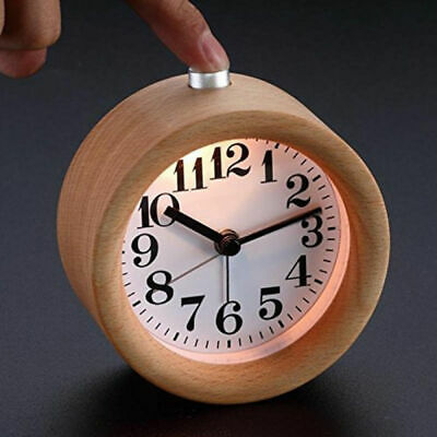 Modern Classic Round Silent Table Snooze Beech Wood Alarm Clock Night Light • 11.41£
