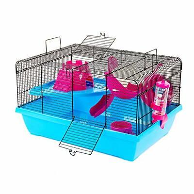 Hamster Cage, Small Animal Cage Including Wheel, Water Bottle, Ladder, Slide • 41.99£