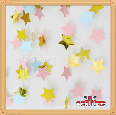 UK Star Garland Buntings Wedding Party Birthday Banner Hanging Decor Gold Pink • 1.99£