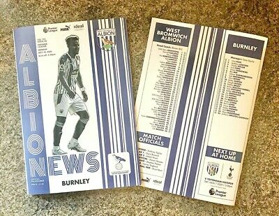 West Brom Bromwich Albion V Burnley PL MATCHDAY PROGRAMME 17/10/20! • 6.89£