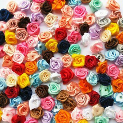 100/200X Satin Flower Ribbon Rose W/Leaf Appliques Sewing For DIY Craft (2P-4P) • 7.17£