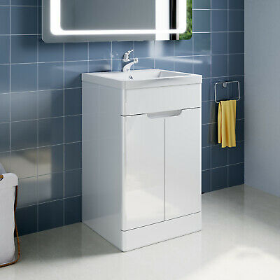 Bathroom Vanity Unit Basin Sink Floor Standing Storage Cabinet White Gloss 500mm • 175.99£
