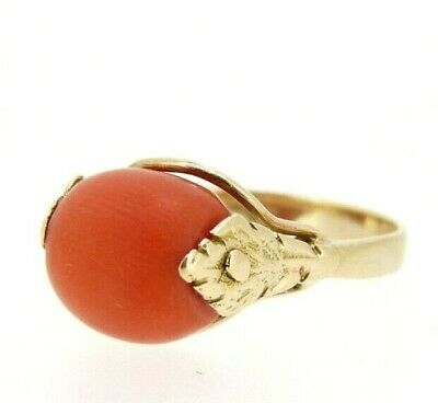 Ring Antique Traditional Italian Years' 10 IN Gold Solid 18 Carats With Coral • 295.48£