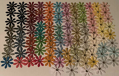 150 X Small Handmade Daisy Paper Flower Embellishments Assorted Colours. • 2.49£