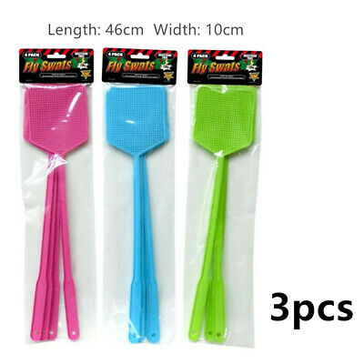 AU11.95 • Buy 3pcs Fly Swatter Insect Bug Killer Racket Mosquito Cockroach Pest Long Plastic