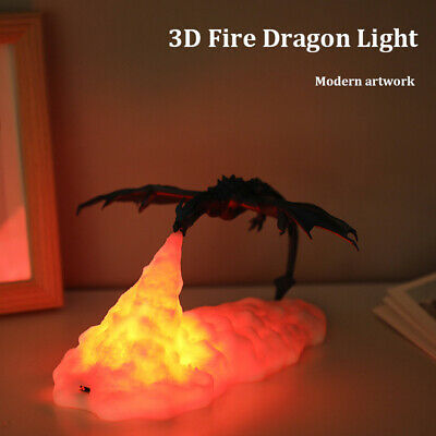 £18.73 • Buy 3D Fire-Breathing Dragon LED Night Light Rechargeable Table Decor Lamp Xmas Gift