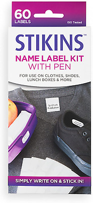STIKINS® Name Label Kit With Pen 60x Plastic Write On Labels Pen Included • 14.99£