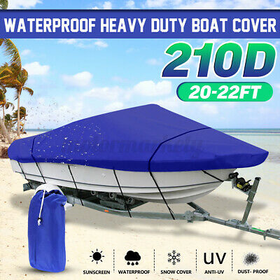 20-22ft Blue Extra Heavy Duty Waterproof Boat Speedboat V-Hull Cover Protector  • 27.99£