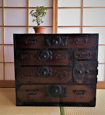 Antique Japanese Furniture Wood Cabinet Isho Dansu Sendai Tansu H.23.6inch • 917.60£