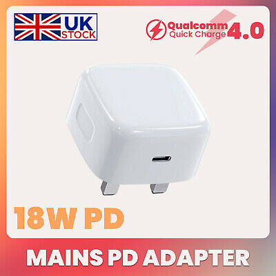 UK Plug PD 18W USB-C Type C Fast Wall Charger Adapter For IPhone 11 Pro Max STO  • 9.99£