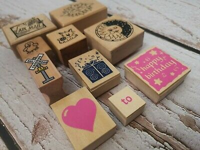 10 Piece Lot Of Wooden And Foam Rubber STAMPS Card Making Paper Crafts • 8.50£