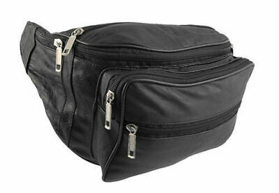 Genuine Leather Travel Waist Bag Bum Bag Hip Pouch Belly Pack 5 Zip Compartments • 6.99£