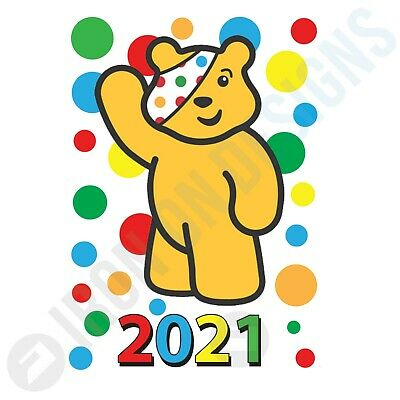 Children In Need Spots Waving Pudsey Year - Iron On Tshirt Transfers - A6 A5 A4 • 1.97£