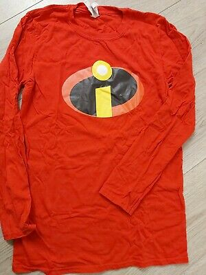 The Incredibles Super Hero Fancy Dress LONGSLEEVE Adults T-Shirt Small 8 + Mask  • 3.50£