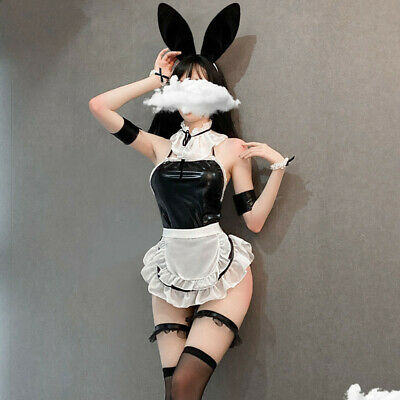 $18.39 • Buy US Women Sexy Lolita Bunny Maid Outfit Apron Dress Neck Ring Cosplay Costume Set