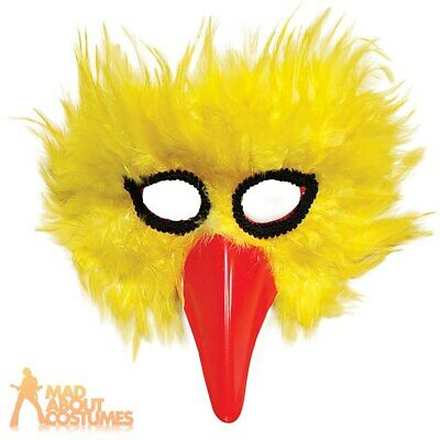 Adult Yellow Bird Feather Mask Animal Chick Masquerade Fancy Dress Accessory • 5.89£