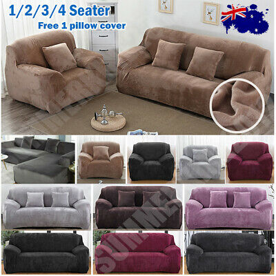 AU29.99 • Buy *Velvet Plush* Sofa Cover Stretch Couch Cover Furniture Protector 1/2/3/4 Seater