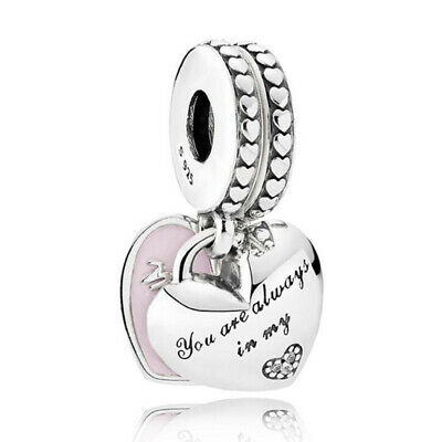 UK Hearts Charm With Crystal Beads Silver Genuine PANDORA Mother & Daughter • 19.89£