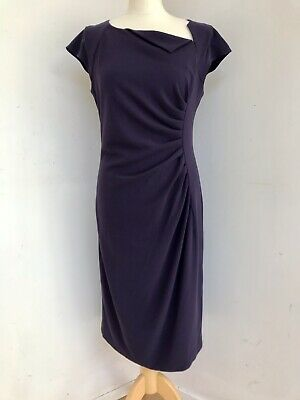 AU62.52 • Buy LK BENNETT Deep Purple Ruched Cap Sleeve Knee Length Shift Dress Size 14