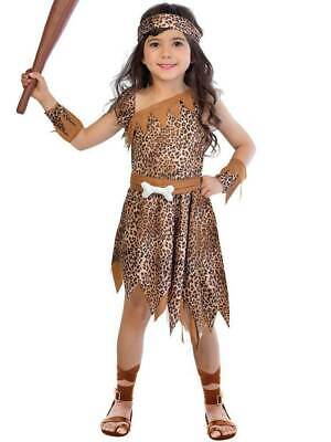 Kids Cave Girl Costume Cavewoman Stone Age Fancy Dress Ages 4-12 Years • 9.99£