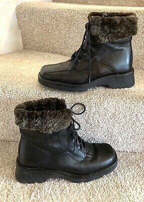 Pavers Winter Ankle Boots Uk 5 Women's Black Leather Square Toe Faux Fur Lined • 27.35£