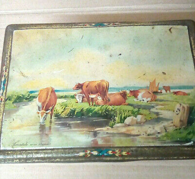 VINTAGE 1920s Large Confectionary Sweet Tin With Cows  Evantide After J. Tennant • 9.99£