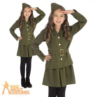 Kids Girls 1940s Army Officer Costume WW2 Soldier Book Day Fancy Dress Outfit  • 11.99£