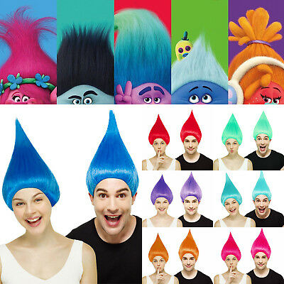 Adult TROLL WIGs Fancy Dress Elf Pixie Gnome The Thing Goblin Festival Party UK • 9.78£