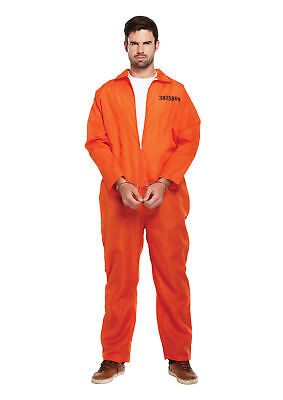 Adult Mens Prisoner Orange Overall Costume Jumpsuit Stag Do Party Fancy Dress UK • 9.99£