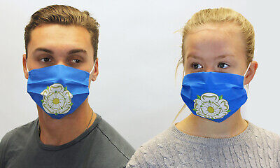 Yorkshire County Flag Face Mask Covering Reusable Washable Cotton White Rose • 4£