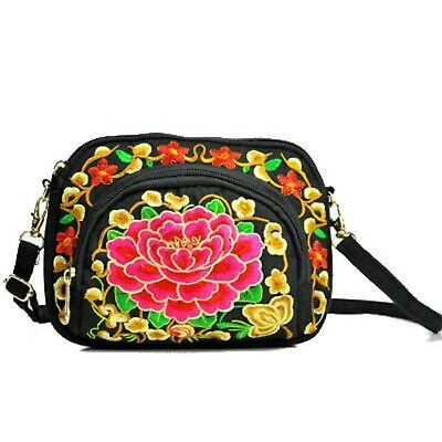ZOONAI Women Embroidery Floral Crossbody Shoulder Purse Bag Small Canvas Cell... • 20.93£