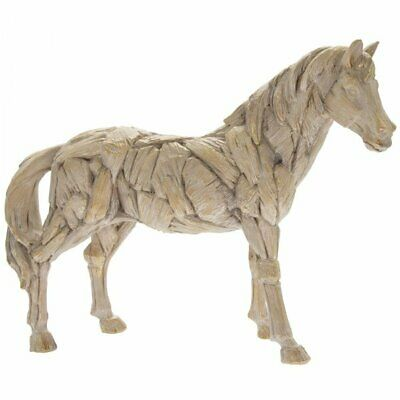 Driftwood Horse Resin Wooden Carved Effect Animal Statue Ornament Figurine GIFT • 28£