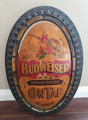 $ CDN253.32 • Buy 32  Vintage Budweiser King Of Beers On Tap Oval Wall Sign Home Bar Light Weight