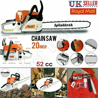 2-Stroke 52CC Petrol Chainsaw Easy Start E-Start Chain Saw 20  Tool Heavy Duty. • 84.95£