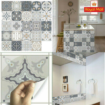 Set 24x Moroccan Style Tile Wall Stickers Kitchen Bathroom Self-Adhesive DIY • 6.99£