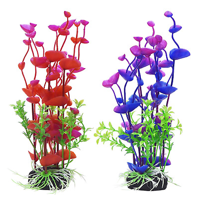 2Pcs Artificial Aquatic Plant Large Aquarium Plants Plastic Fish Tank Decor UK • 4.89£