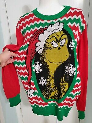 $34.95 • Buy Men's Dr Seuss The Grinch Pullover Ugly Christmas Sweater Green Size XL