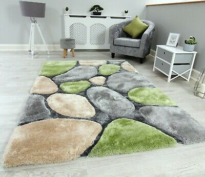 New Green Grey Silver Beige Thick Pile Pebbles Design Rug Modern Soft Shaggy Mat • 79.95£