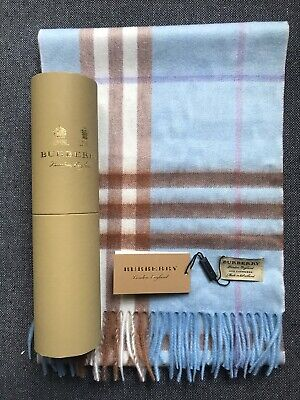 Burberry The Classic Check 100% Cashmere Scarf With A Beautiful Box ~NEW~blue • 175£