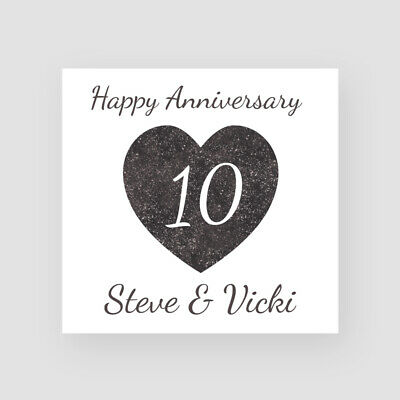 10th Tin Wedding Anniversary Card Personalised Handmade Glitter Effect Heart • 3.45£