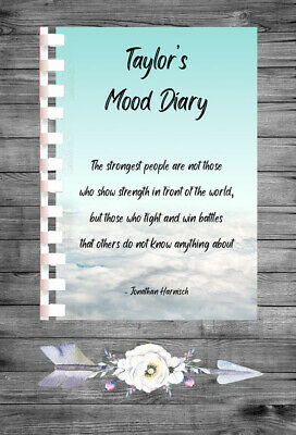 £5.99 • Buy Personalised Mood Diary Tracker Mental Health Thoughts Feeling Book Journal MD42