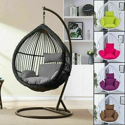 Swing Hanging Egg Rattan Chair Outdoor Garden Patio Hammock Stand Porch Cushions • 35.74£