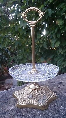 Antique French Baccarat Cut Glass & Ormolu Stand One Tier Level Sweets Stand  • 60£