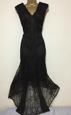 Stunning COAST Black Lace High Low Evening Occasion Dress Size 16 • 49£