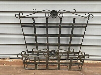 Vintage Heavy Black Wrought Iron Planter Hang Or Sit Deck Porch Window Box • 34.36£