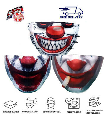 £1.99 • Buy Funny Adults Mask Scary Joker  Washable Reusable Breathable Face Cover