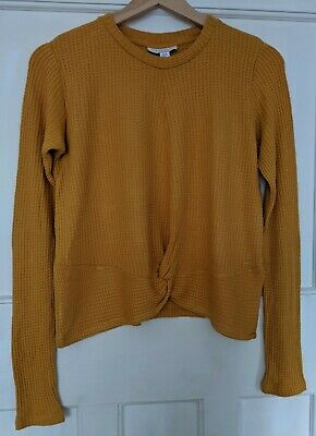Topshop Mustard Long Sleeved Twisted Front Top Size 12 • 3.99£